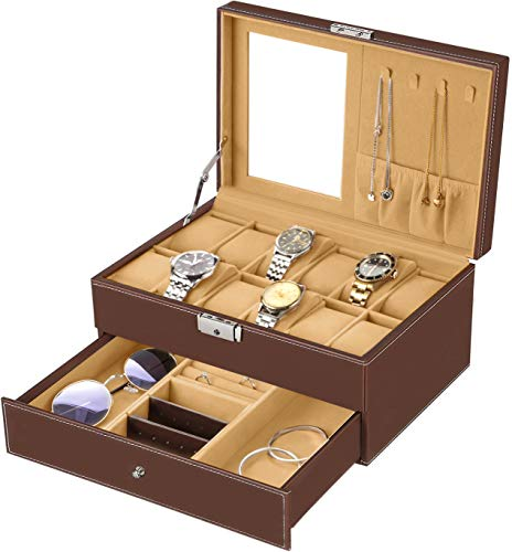 bestwishes Watch Box 12 Slots Watch Organizer Jewelry Display Case Organizer with Jewelry Drawer for Storage and Display Lockable