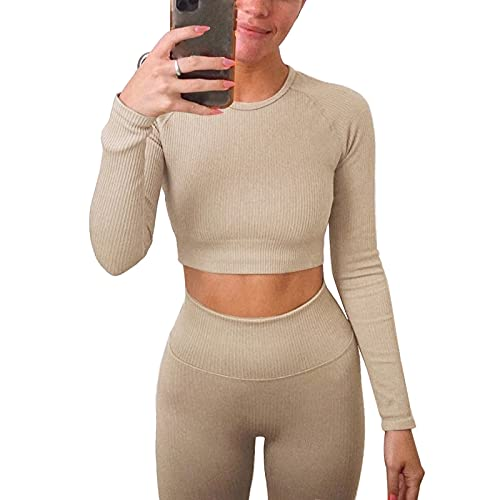 Jetjoy Workout Sets for Women 2 Piece Long Sleeve Leggings and tops Set Exercise Gym