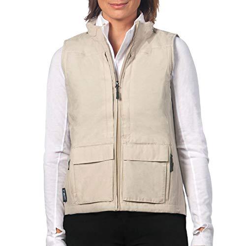 SCOTTeVEST Q.U.E.S.T. Chaleco de viaje para mujer | 42 bolsillos seguros | Anti-carterista - beige - Large