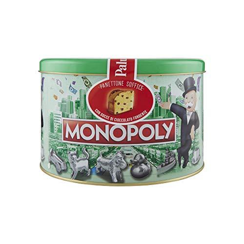 PALUANI Panettone con gocce di Cioccolato, Panettone Monopoly in collaborazione con Hasbro, panettone morbido con cioccolato finissimo, confezione regalo in latta, con carte da Gioco, 750 g