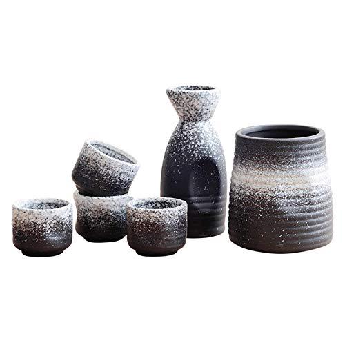 DQM Hochwertige 5-TLG. Sake-Set mit Wärmer, japanische traditionelle Keramik-Mini-Sake-Sets mit Sake-Servierflasche, Sake-Flasche, 4-Sake-Tasse und Wärmer