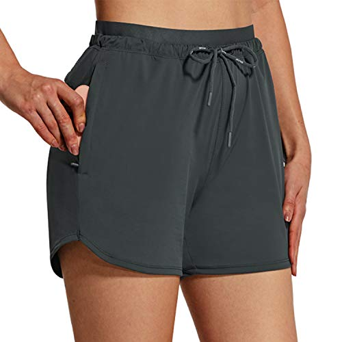 BALEAF Women's Shorts 4' Running Shorts Quick Dry with Zip Pockets Stretch High Waist Outdoor Workout UPF 50+ Active Gray Size L