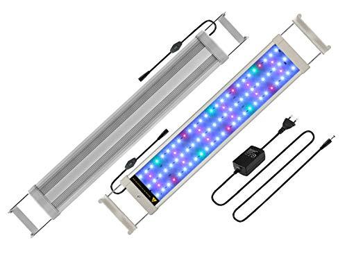 Main luce acquario LED illuminazione, Acquario Bianco Blu Rosso Verde Luce 7,5W/16W/22W/31W con supporto regolabile per 30cm 50cm/50cm-70cm/70cm-90cm/90cm-110cm Acquario, Argento