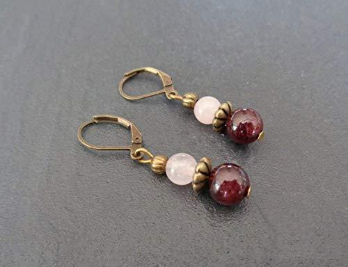Pendientes ganchos de bronce bohemio, granate y rosa de cuarzo, idea de regalo