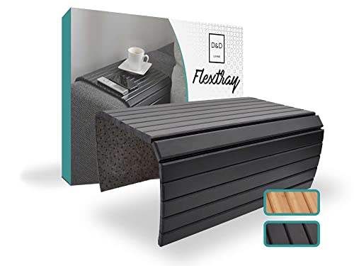 D&D Living Bandejas brazos de sofá | Bandeja flexible para apoyabrazos de madera natural (bandeja con 50x35 cm, negra) | Bandeja sofá reposabrazos