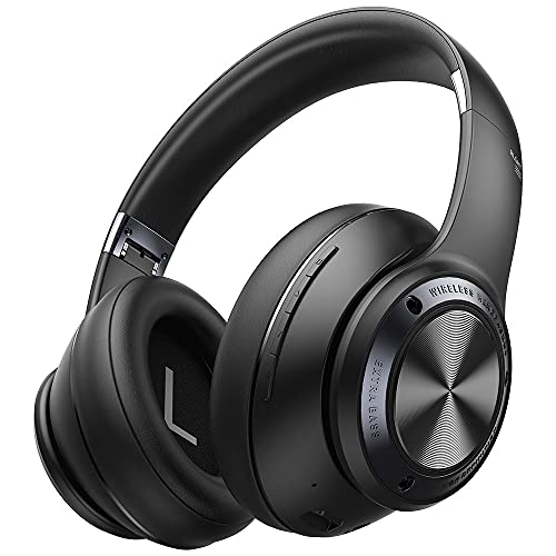 Picun Bluetooth Headphones 100 Hours Wireless Gaming Headphones Over Ear Low Latency Bluetooth 5.0 HiFi Extra Bass, Noise Reduction Mic, Protein Earpads, Foldable Headset for Phone Tablet Office Class