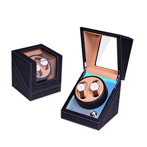 WXDP Enrollador de Reloj automático,Doble 4 Modos de rotación, Motor silencioso con Caja de presentación de Almacenamiento de Relojes (Color: Negro)
