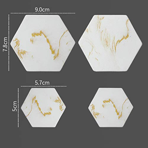 DreamyDesign Marmor Kleiderhaken Harz Haken Chinesische Windjacke Haken Landschaft Malerei Haken Polygon Rundhaken Dreidimensionale Wanddekoration Haken Tragfähigkeit 5kg Gelb
