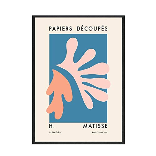 Carteles e impresiones de plantas abstractas Matisse, hojas y flores, decoración nórdica, lienzo sin marco, pintura B 50x70cm
