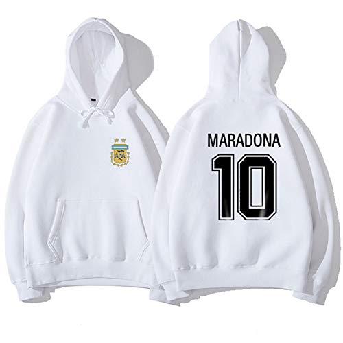 Nr.10 Mǎrādōnà Fußball Trikot T-Shirt Langarm Pullover 2020 Neue Männer Jungen Sport Tops Ārgēntína Legend Hero Fan Geschenk, Fußball Atmungsaktive Unterstützer SWEA White-XXXL
