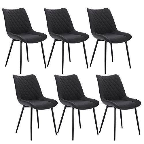 WOLTU® Esszimmerstühle BH208dgr-6 6er Set Küchenstuhl Polsterstuhl Wohnzimmerstuhl Sessel mit Rückenlehne, Sitzfläche aus Leinen, Metallbeine, Dunkelgrau
