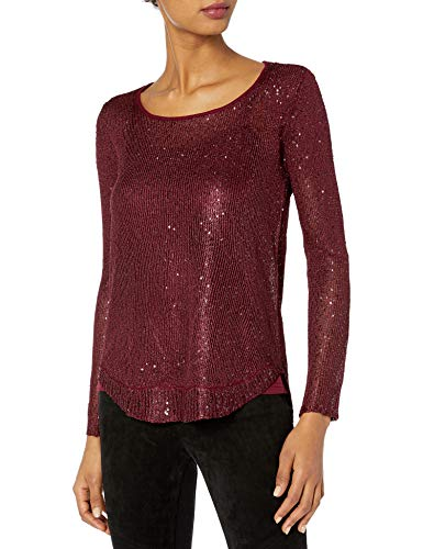 CATHERINE CATHERINE MALANDRINO Women's Phyllis Sweater, Zinfandel, XL