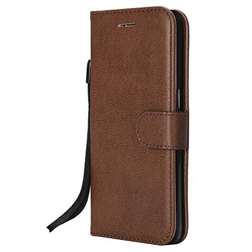 Docrax Samsung Galaxy S7 / G930 Lederhülle, Handy Hülle Leder Klappbar Brieftasche Schutzhülle mit Kartenfach Magnetisch Stoßfest Handyhülle Flip Case für Samsung Galaxy S7 - DOKTU46921 Braun