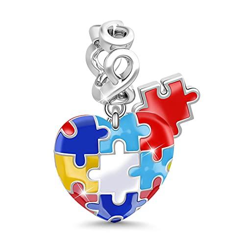Gnoce 'Consciencia sobre el Autismo'Charm Colgante 925 Plata Multicolor Tipo Corazón para Pulsera o Collar