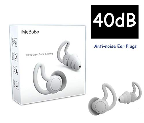 Fishstar Reusable Safe Silicone Earplugs Noise Cancelling Ear Plugs for Sleeping (Reduce 40dB) High Fidelity Earplugs for Musicians Concerts Construction Motorcycle Shooting Sleeping (Gray)