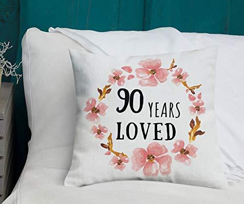 Blafitance Funda de almohada de lona para el día de la madre, 30 x 30 cm, 90 años, ideas de cumpleaños 90, regalos de 90 años para mujeres, regalo de cumpleaños 90, 90 y fabuloso, feliz cumpleaños 90