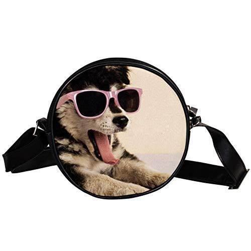 Bandolera redonda pequeña bolsa de mano de moda para mujer, bolsa de mensajero de lona, bolsa de cintura, accesorios para mujeres, lindo cachorro con gafas de sol bostezando