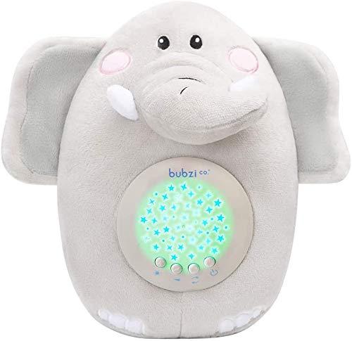 Bubzi Co Peluche para Bebé Elefante - Máquina de Ruido Blanco – Luz quitamiedos infantil – Regalo para Bebé Niña y Niño - Regalo de Baby Shower - Calmante del Sueño – Regalo para Recién Nacido