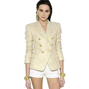HOSD Stylishdesigner Blazer Damen Jacke mit goldenen Knöpfen, Doppelknopf, Farbe Gold