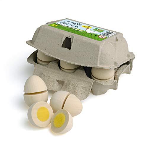 Erzi 17015 Eier zum Schneiden aus Holz im Karton, Kaufladenartikel für Kinder, Rollenspiele