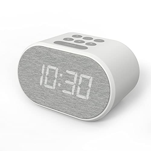 Radio Despertador con Cargador USB y Radio FM, Reloj Despertador Digital ,Pantalla con Iluminación Regulable en 5 Pasos, Alimentación de Red con Batería de Refuerzo (Blanco)