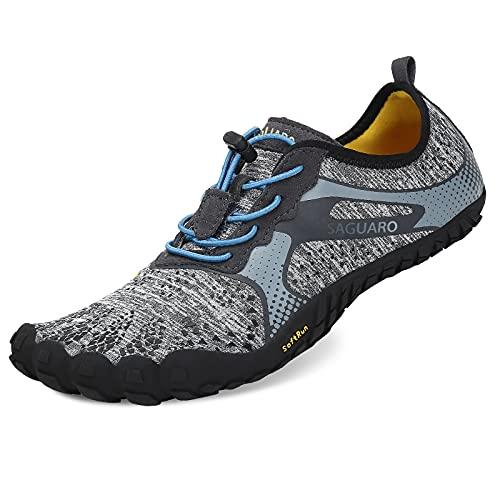 SAGUARO Outdoor Fitnessschuhe Herren Barfussschuhen Atmungsaktive rutschfeste Laufschuhe, 44 EU, Grau