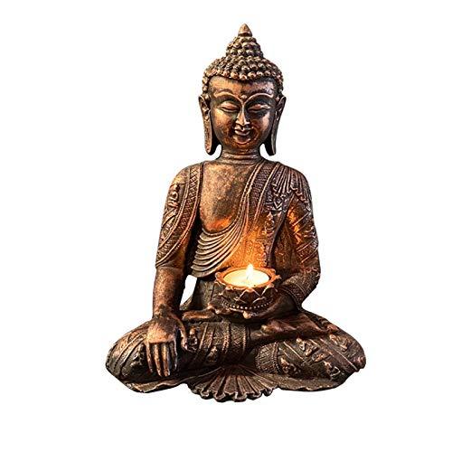 Portavelas de Buda tailandés, soporte de vela de estatua de Buda, 30,5 cm de alto, con diseño de buda meditando de Buda, con pátina y acabado dorado, decoración de Buda para el hogar