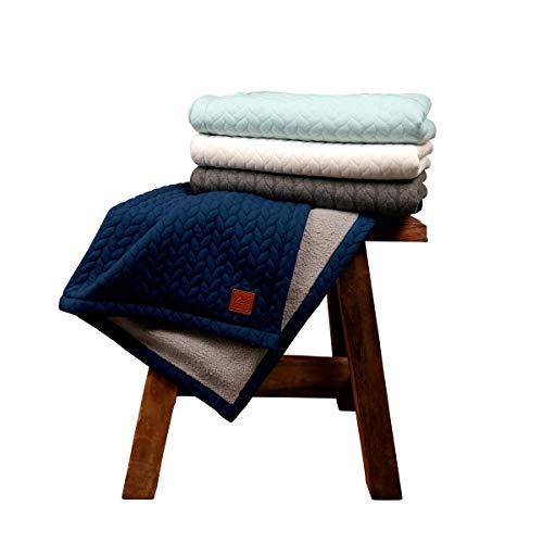 Kaiser 6567122 Decke Quilly - Knit Design super soft, navy, blau