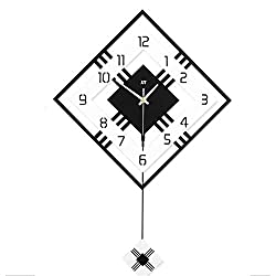 yanzz Wall Clock Square Frame Wall Clock with Swinging Pendulum Artistic Decorative Battery Operated Quartz Clock for Living Room Kitchen Bar Bedroom