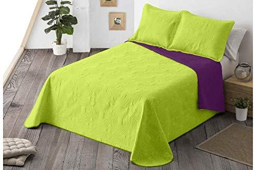 Energy Colors Textil-Hogar - Chill - Colcha Boutí Verano Reversible Liso Bicolor con 2 Funda Cojín 50 x 70 cm (Verde, 250 x 265 cm (Cama 150))