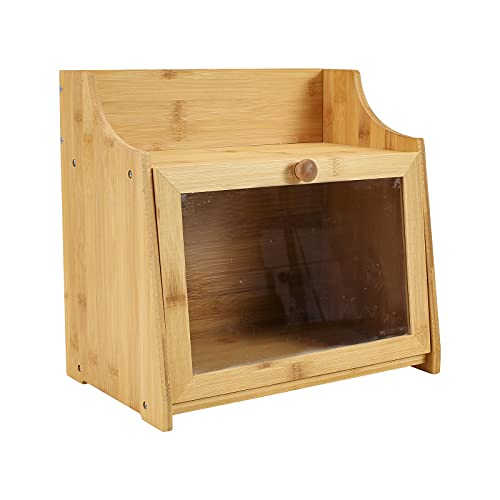 Gdfjiy Contenitore per il pane in bambù a 2 strati, grande capacità, in legno, per cucina, contenitore per il pane con parte rimovibile