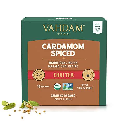 Tè Chai al cardamomo - 30 Bustine piramidali - 100% CARDAMOMO NATURALE TRITATO miscelato con tè nero, la ricetta originale indiana, direttamente dall India (2 confezioni, 15 bustine per confezione)