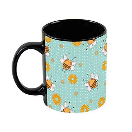 Taza de café negra con diseño de flores y felices con lunares blancos, 325 ml, taza de café y té de cerámica única, regalo de Navidad para ella, regalo de amigo