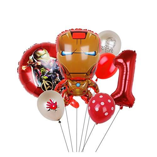 YSHSPED Globos Regalos Juguetes for 7pcs del Partido del Globo de la araña de Hierro Capitán América Foil Partido BBirthday Globo Decoración de Niños (Color : Iron Man 1)