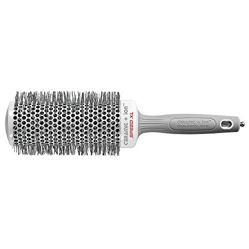 Olivia Garden Rund-Haar-Bürste Ceramic + Ion Speed XL 55/75 mm, langer Bürstenkörper für kürzere Föhnzeiten, antistatische Rundbürste (Ionen Haarbürste) zum Föhnen und Glätten langer Haare