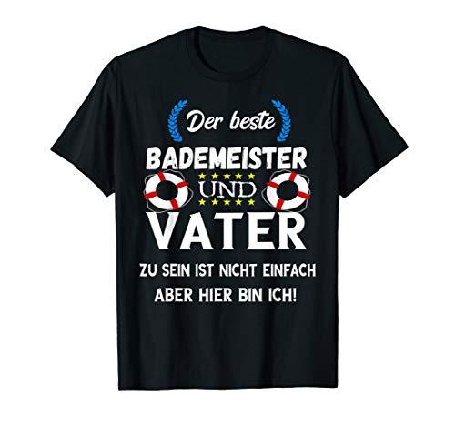 Herren Bademeister Vater Schwimmbad Rettungsschwimmer Papa Spruch T-Shirt