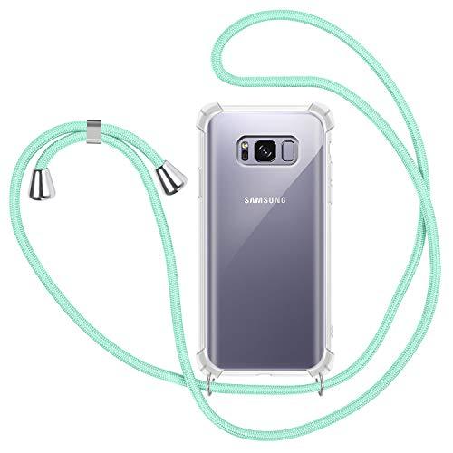 Funda con Cuerda para Samsung Galaxy S8 Plus, Carcasa Transparente TPU Suave Silicona Case con Correa Colgante Ajustable Collar Correa de Cuello Cadena Cordón para Samsung Galaxy S8 Plus - Verde menta