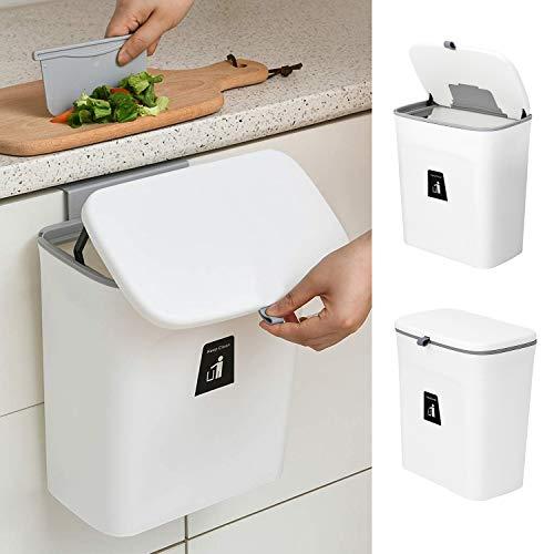 Jolitac Cubo de basura colgante para cocina con tapa para puerta de gabinete, adecuado para cocina, baño, inodoro, dormitorio, sala de estar, oficina (blanco)