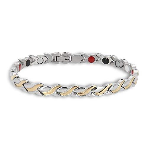 Elegantes pulseras magnéticas brazaletes de terapia acero de titanio imanes para el cuidado de la salud pulsera cadena regalo de la joyería brazalete de regalo para mujeres y niñas