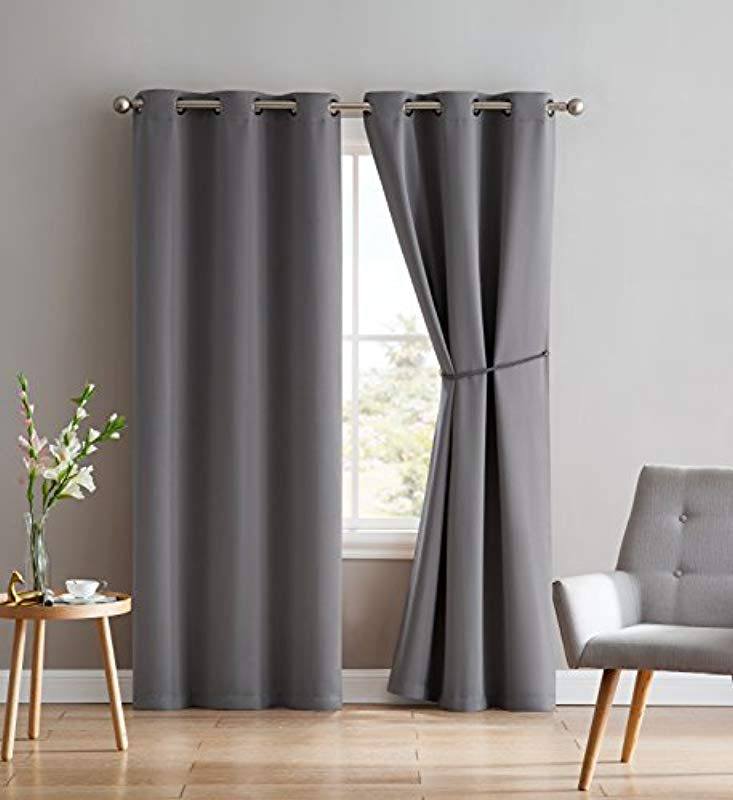 Nicole 2 Premium Grommet Blackout Window Curtain Panels With Tiebacks Solid Thermal Insulated Draperies Total Size 76 Inch Wide 38 Each Panel 84 Inch Long 2 Panels 38x84 Light Grey