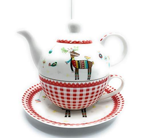Gilde porseleinen theeset, bos, kerst, theepot, mok, onderzetter, 4-delig