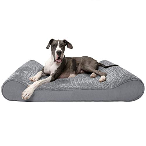 Furhaven Pet Dog Bed - Orthopedic Ultra Plush Faux Fur Ergonomic Luxe Lounger Cradle Mattress Contour Pet Bed with Removable Cover for Dogs and Cats, Gray, Giant