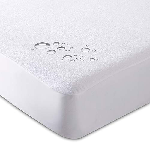 BuyerPX Terry Towel Waterproof Mattress Protector Topper Cover, Highly Durable, Water & Moisture Proof, Non-Allergenic & Non-Noisy, Extra Soft & Machine Washable (King 150cm x 200cm)