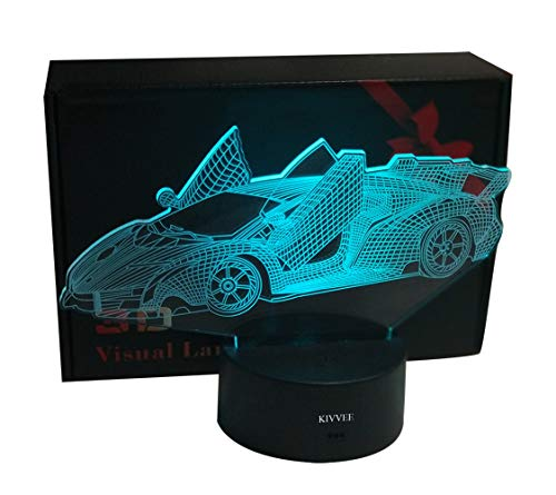 3D Lamp Racing Car Toys Transportation Tools Visual 3D Night Light 2D Desk Light 7 Color Change Touch W/USB Cable Birthday Christmas Gift for Boys Girls Lovers Kids Gift Adult Decorative