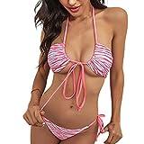 Bañador de dos piezas para mujer, sexy, color liso, ideal para el spa de fiesta en la playa, artículo imprescindible para el verano. rosa L