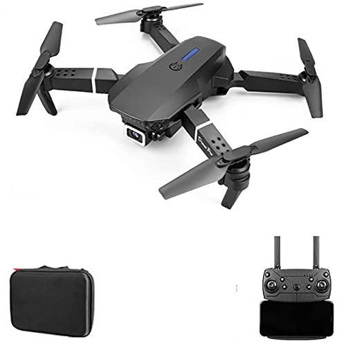 GZTYLQQ Drone E88 con cámara Dual 4K HD, posicionamiento de Flujo óptico, despegue y Aterrizaje con un Clic, Foto de Gestos, Control de teléfono, Modo sin Cabeza RC Quadcopter para Adultos niño negr