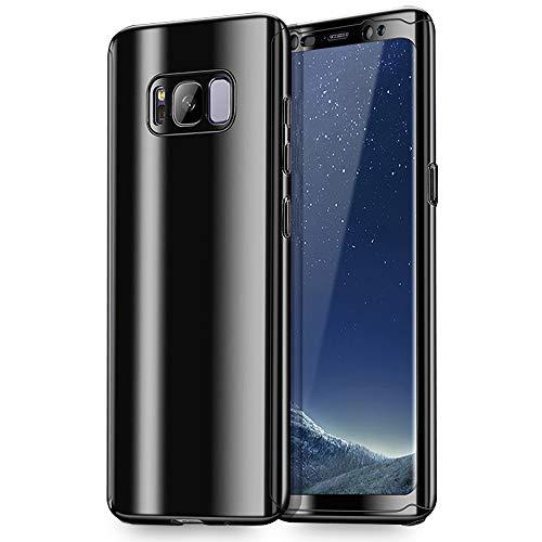 NALIA Custodia Integrale compatibile con Samsung Galaxy S8 Plus, Fronte & Retro Cover Protettiva con Screen Protector, Sottile Bumper Hard-Case Telefono Cellulare Protezione Guscio, Colore:Nero