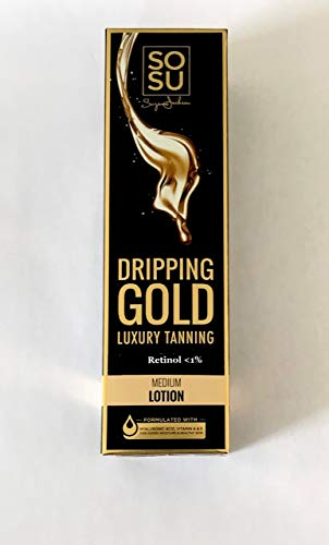 SOSU Dripping Gold Luxury Tanning Lotion 6.7 Oz! Enriched with Shea Butter, Coconut Oil and Vitamins A and E! Long-Lasting & Streak-Free! Natural Golden Glow Skin! Choose From Medium Or Dark! (Medium)