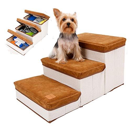 Corwar Escaleras para Mascotas de 3 Pasos,escaleras para Mascotas Plegables con Estilo de Almacenamiento,escaleras para Gatos Plegables para Perros pequeños y Gatos para escaleras