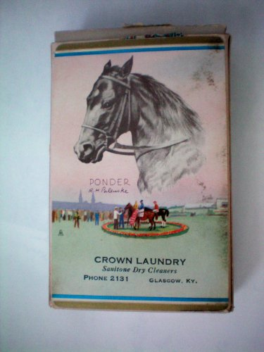 Advertising Collectible -- Deck of Playing Cards -- Crown Laundry Glasgow Kentucky -- PONDER -- Kentucky Derby Winner 1949 on Cards